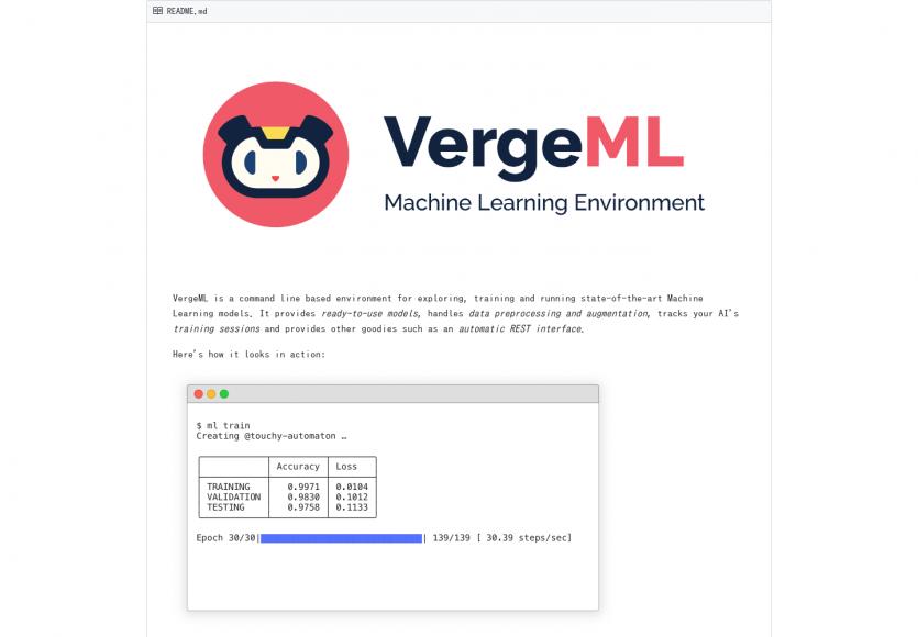 VergeML: Un environnement en CLI permettant de tester, explorer et entraîner vos modèles de MachineLearning