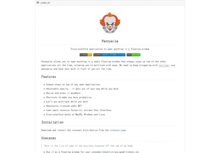 Pennywise : Une app cross-OS permettant d'ouvrir n'importe quel fichier dans une fenêtre flottante