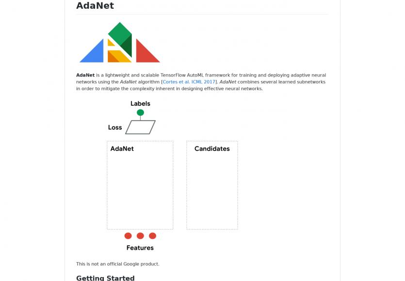 Adanet: Un framework TensorFlow AutoML léger et scalable pour réseaux neuronaux utilisant l'algo AdaNet