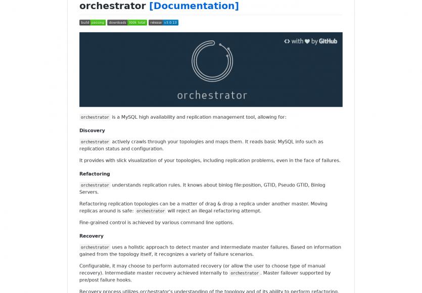 Orchestrator : Un outil de gestion de réplication et charge serveur MySQL réalisé par la team Github