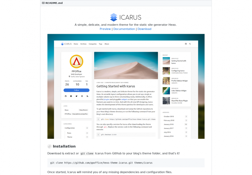 Icarus : Un thème simple et moderne pour le générateur de sites statiques Hexo