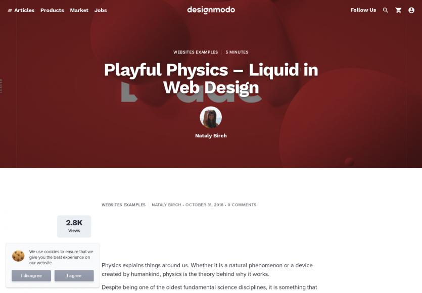 La physique dans le design : focus sur les webdesign liquides