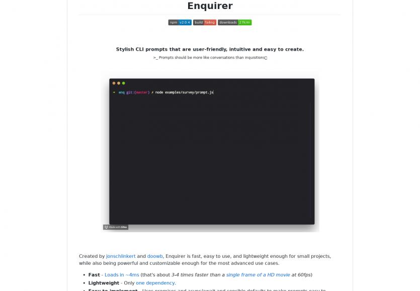 Enquirer: des prompts design et personnalisables pour votre console