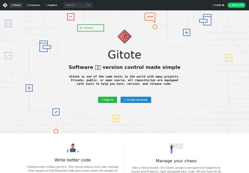 Gitote : une nouvelle plateforme de versionning basée sur GIT en alternative à Gitlab ou Github