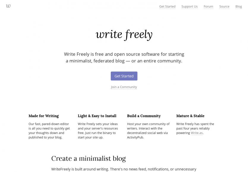 Write Freely : une plateforme de blog minimaliste open source développée en Go