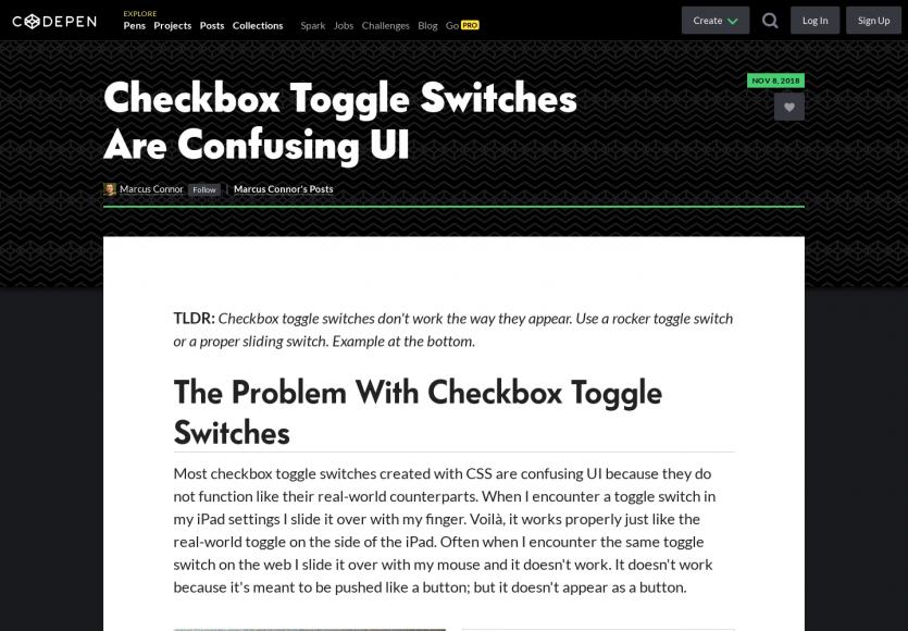 Une alternative aux checkbox toggle pas toujours très intuitifs