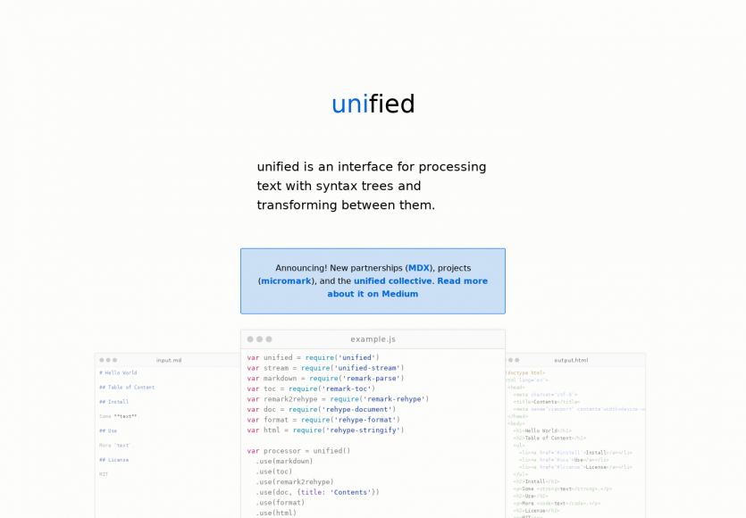 Unified: Une interface pour transformer et convertir du texte à partir d'arbres de la syntaxe