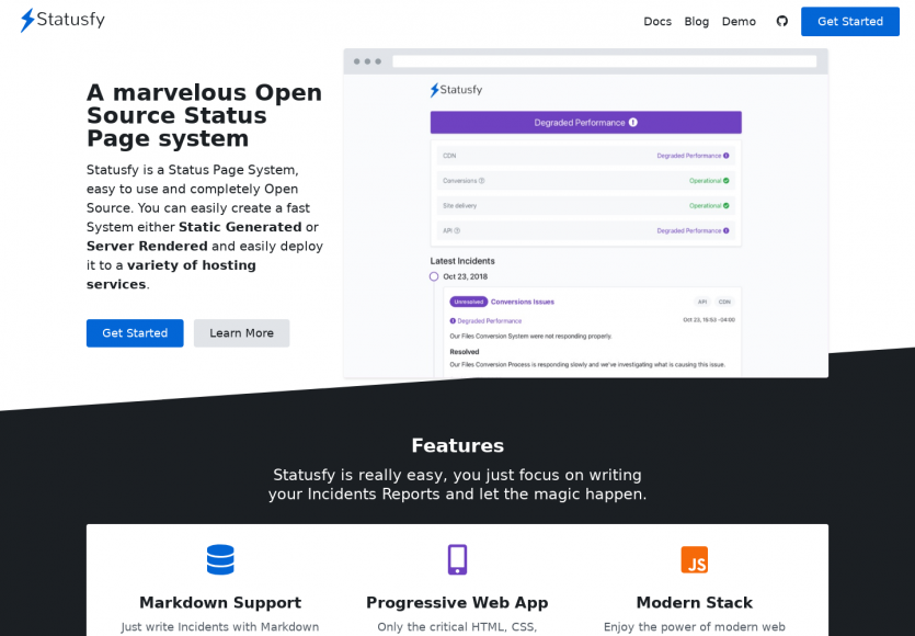 Statusfy : créer une page de statut de service moderne à héberger simplement