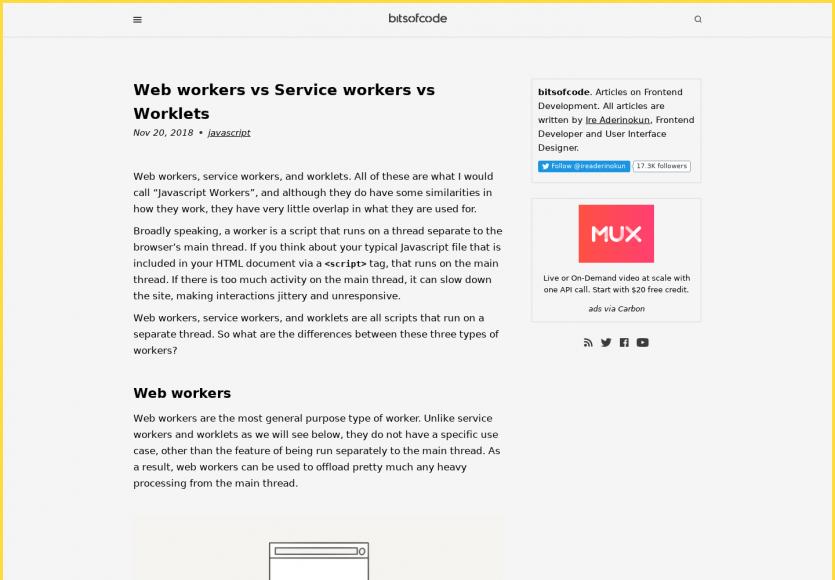 Quelles différences entre Web workers, Service workers et Worklets ?