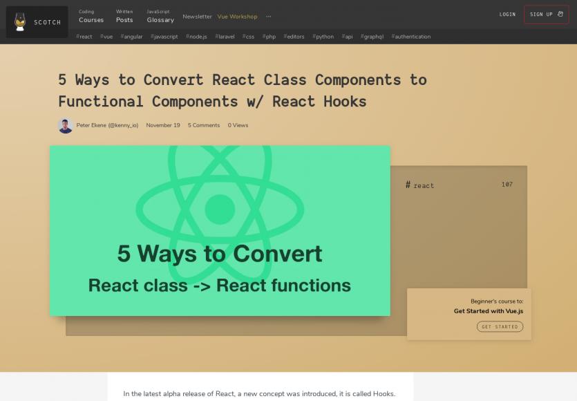 Convertir des classes de composants React en composants fonctionnels avec les React Hooks