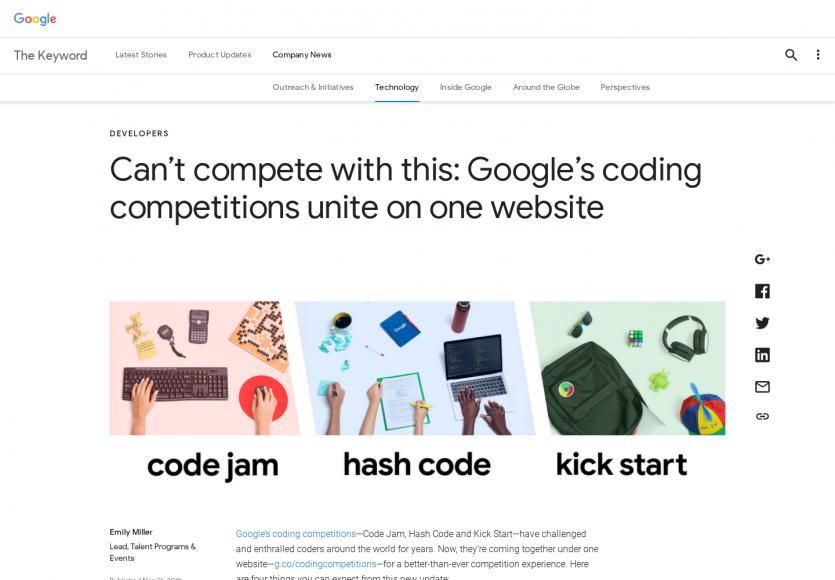 Toutes les compétitions de code par Google disponibles dans une même page web