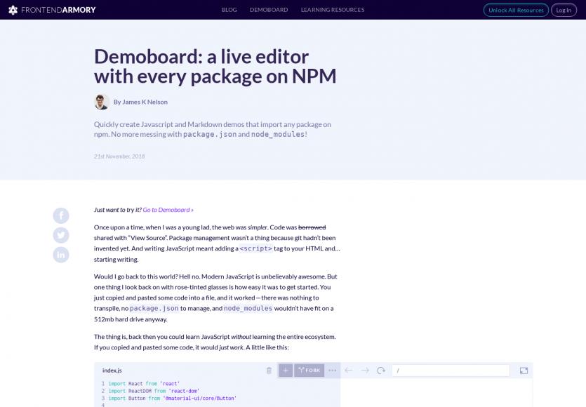DemoBoard : un éditeur de code live embarquant tous les packages npm
