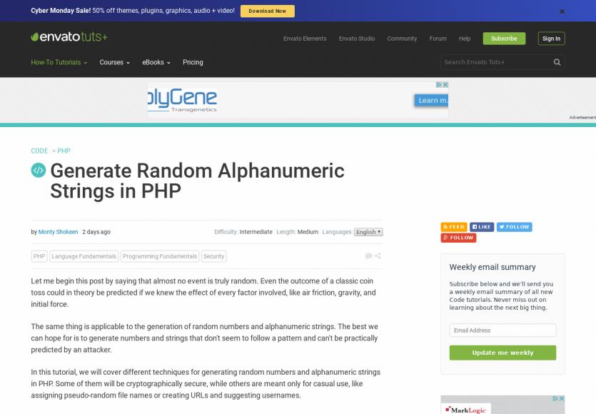 Différentes méthodes pour générer des chaines de caractères aléatoires en PHP :