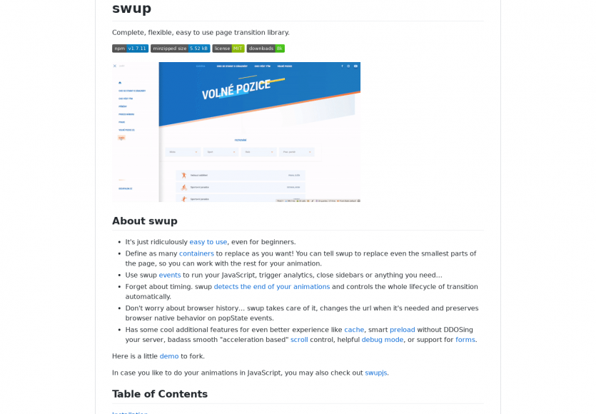 Swup : une bibliothèque Javascript pour faciliter la mise en place de transitions entre pages