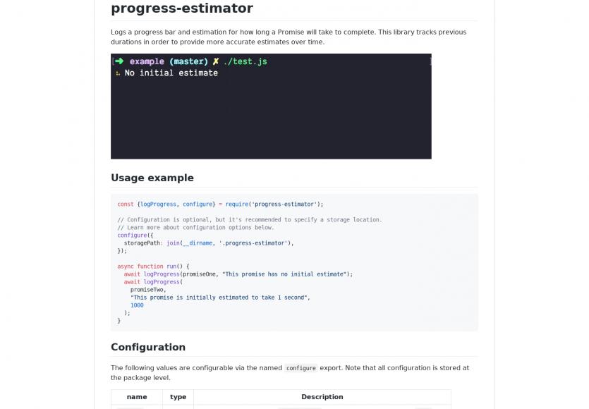 Progress-estimator : ajoutez une progress bar avec un temps estimé vs réel passé dans vos tâches en console