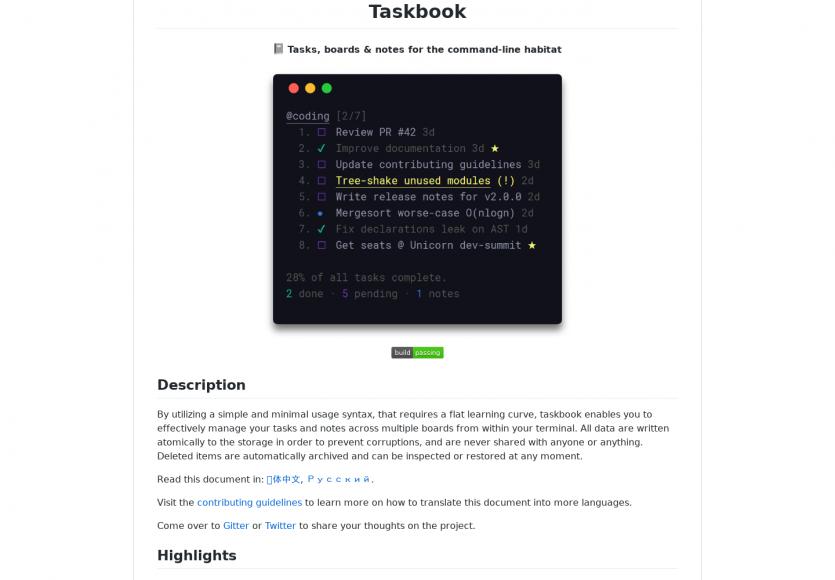 Taskbook : votre todo list interactive embarquée dans votre terminal