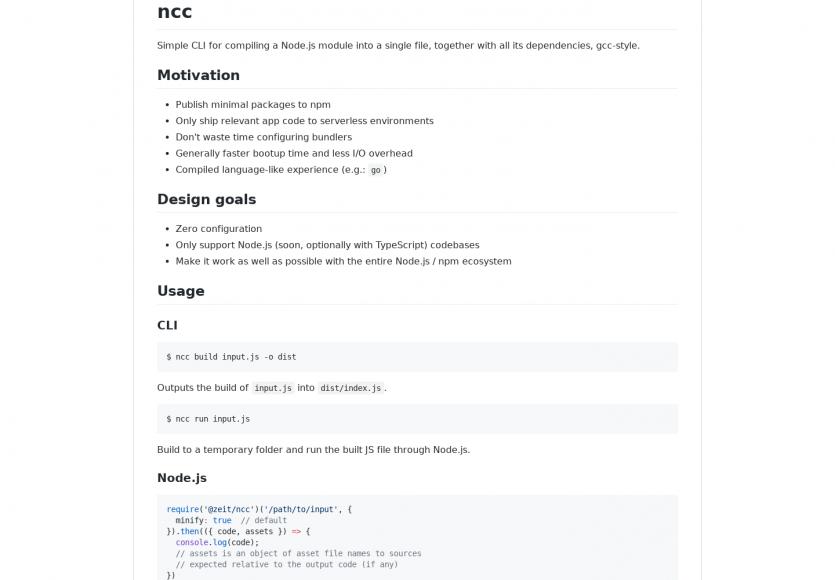 ncc - un outil pour compiler un module Node.js en un seul fichier avec toutes ses dépendances