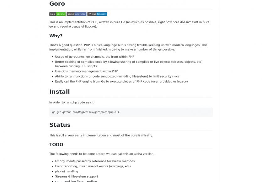 Goro : le langage PHP implémenté en Go
