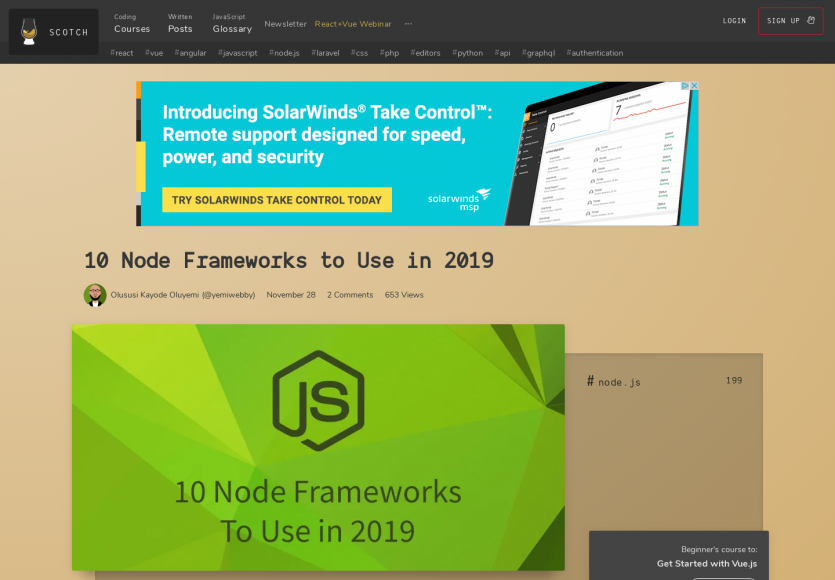10 frameworks Node.js utilisables en 2019 comparés dans un article