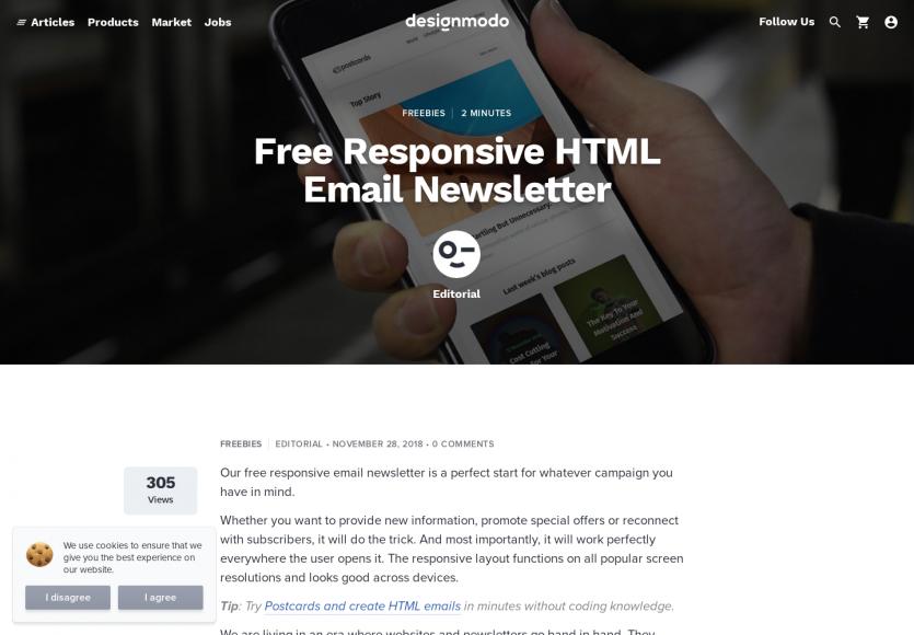 Un template de newsletter HTML responsive gratuit
