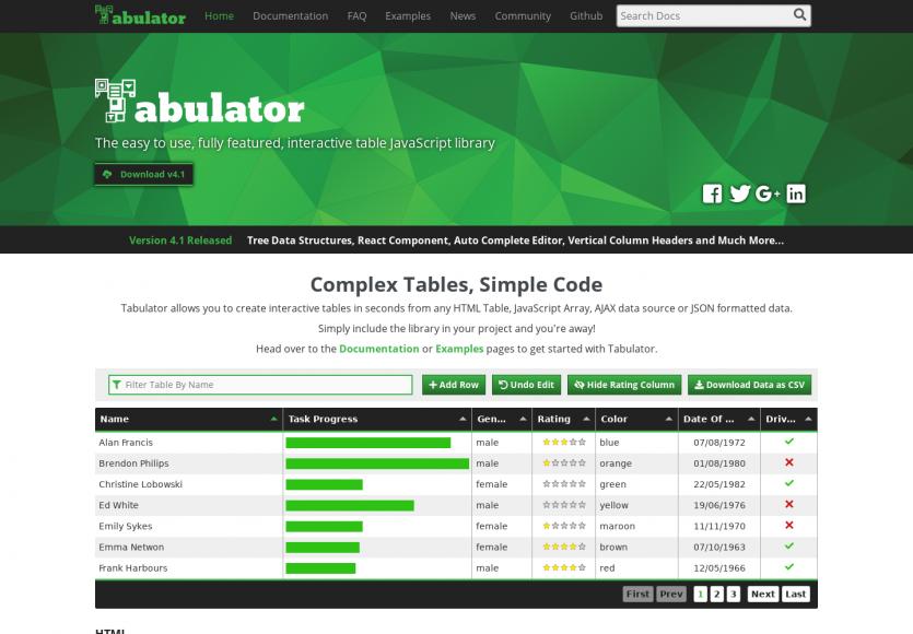 Tabulator : un tableau de données dynamique et interactif pour vos listings