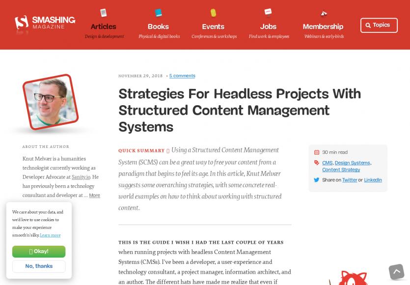 Des stratégies pour des projets headless avec des structured content management  systems