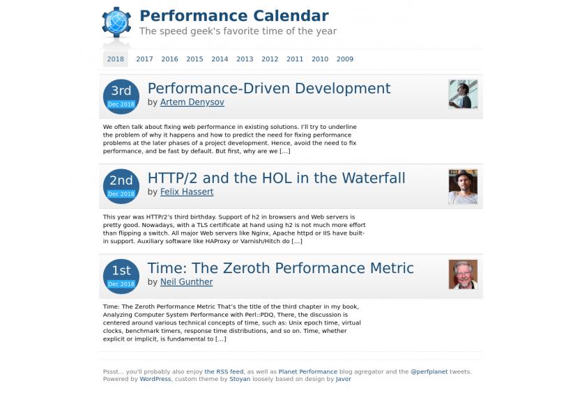 Performance Calendar: le calendrier de l'avent 2018 dédié aux webperfs