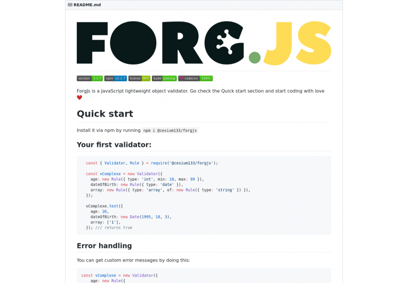 Forg.js - une lib Javascript permettant la validation d'objets facilement