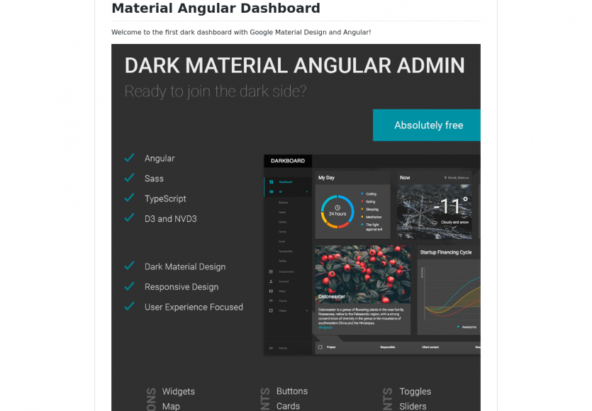 Material Angular Dashboard : un template admin open source sous AngularJs