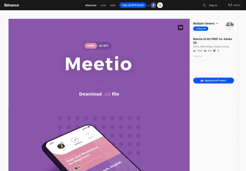 Meetio - Un kit UI au format XD pour vos app mobiles