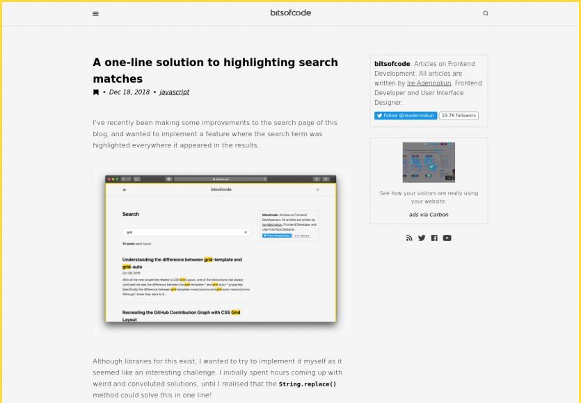 Un snippet en une ligne de code pour highlight un mot clé dans les résultats de recherche