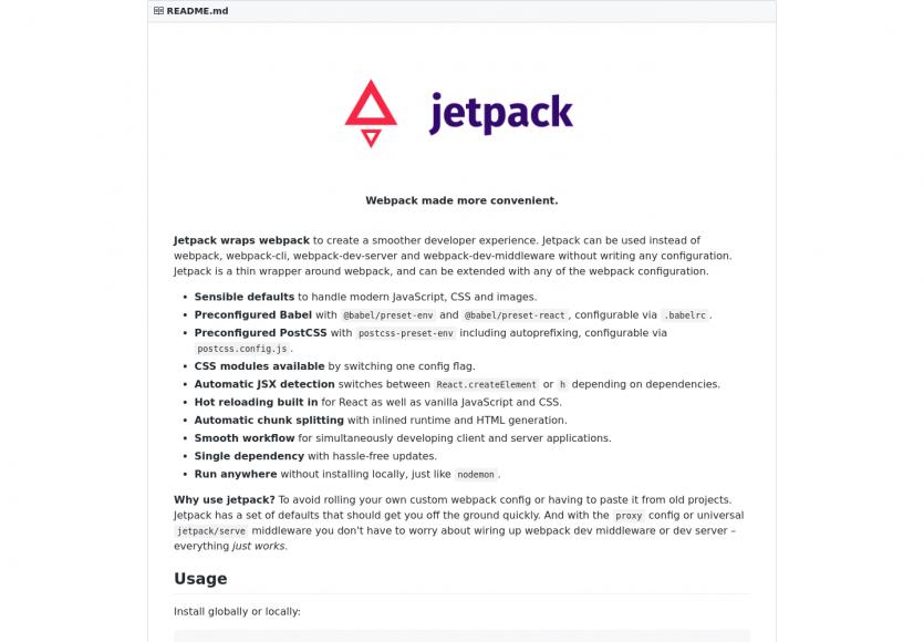 Jetpack : un wrapper de webpack pour faciliter sa mise en place sans configuration