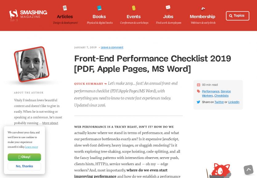 Checklist détaillée des bonnes pratiques webperfs 2019
