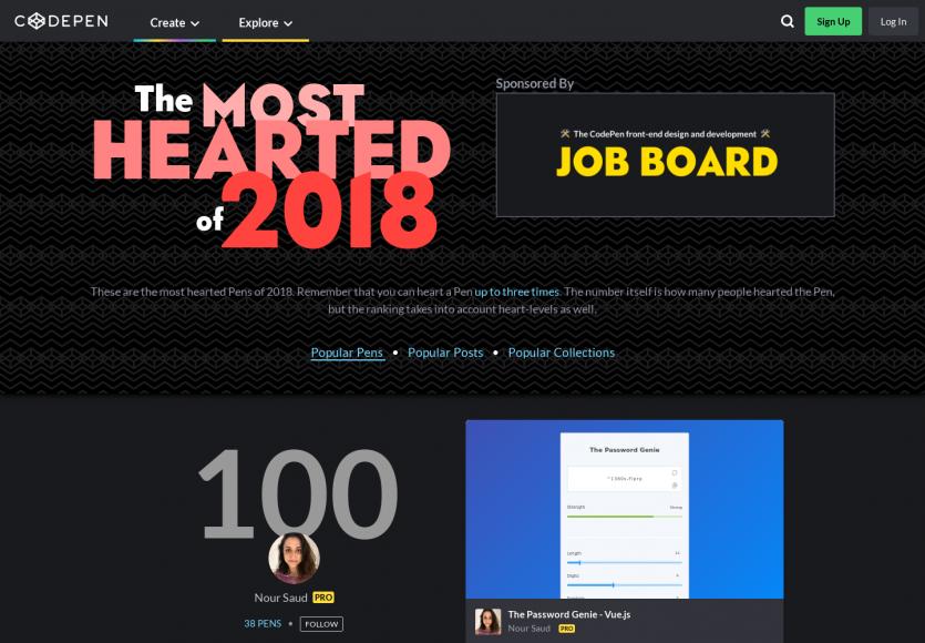 TOP 100 des Codepens les plus likés en 2018