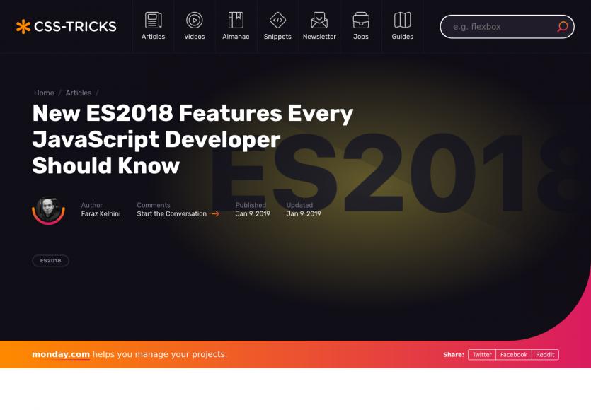 Les nouvelles features ES2018 à connaître pour tout développeur Javascript