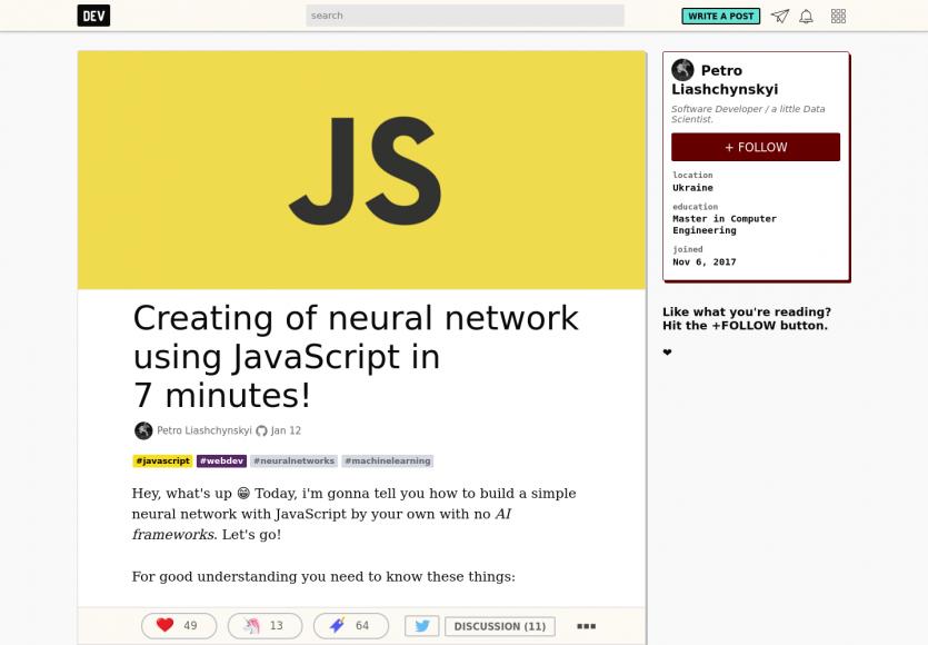 Créer un réseau neuronal en Javascript en quelques minutes