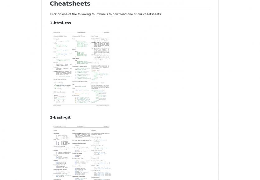 Une collection de cheatsheet pour vos langages préférés
