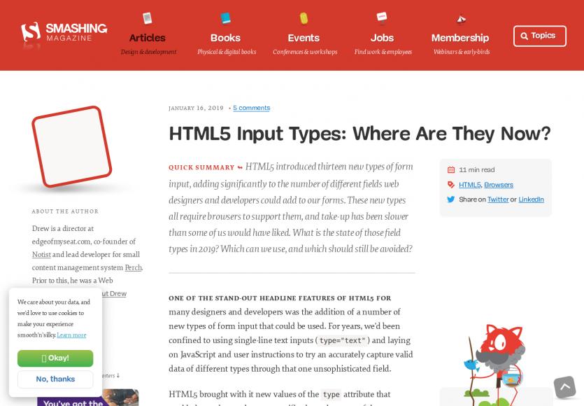 Un état des lieux sur les inputs types HTML aujourd'hui
