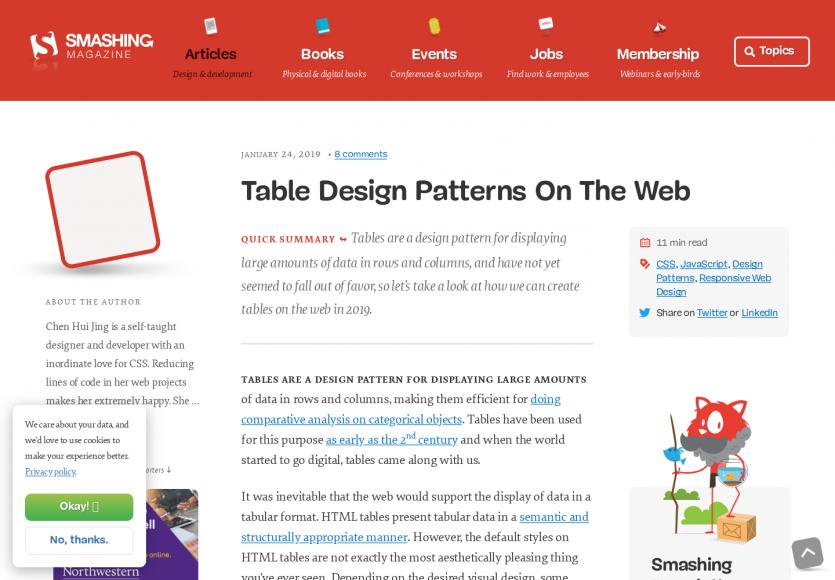 Les design patterns de tableaux dans le web