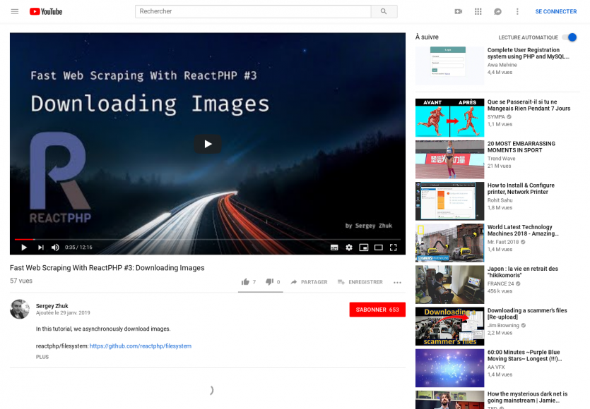 Un tutoriel vidéo pour télécharger des images en asynchrone avec ReactPHP
