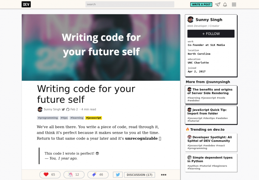 Ecrire du code intelligible pour son futur soi