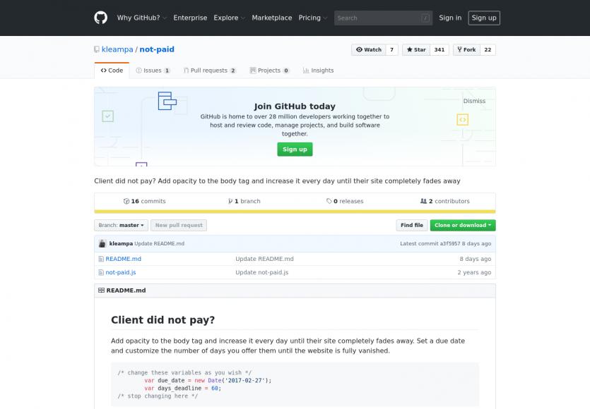 Not paid: Un script qui va appliquer un fade dégressif sur un site (impayés clients?)