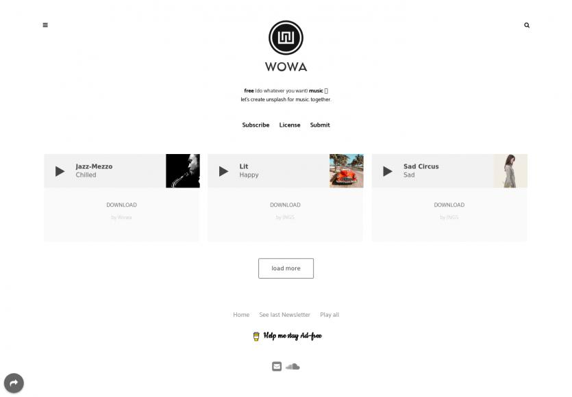Wowa: l'équivalent d'unsplash pour l'audio et musiques gratuites