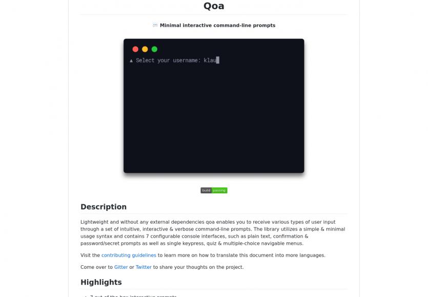 Qoa : des prompts interactifs pour vos app en console