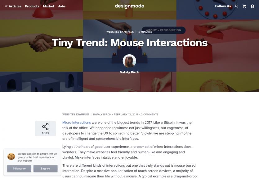 Tendances design : les interactions de la souris