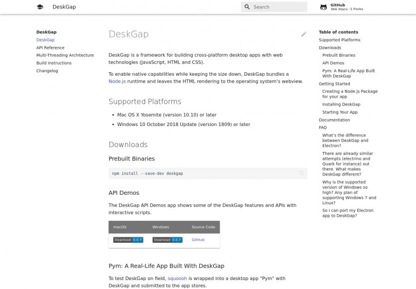DeskGap : un framework pour créer des applications desktop cross-OS avec des technos web