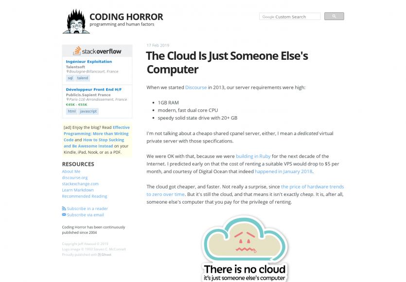 Le cloud n'est que le PC de quelqu'un d'autre ailleur
