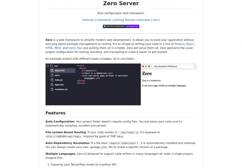 Zero Server : serveur web sans configuration pour NodeJS / Reactjs