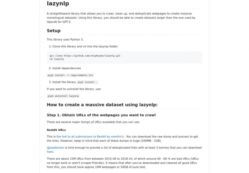 lazynlp: un outil permettant de crawler facilement des pages, puis les dédupliquer et cleaner le code